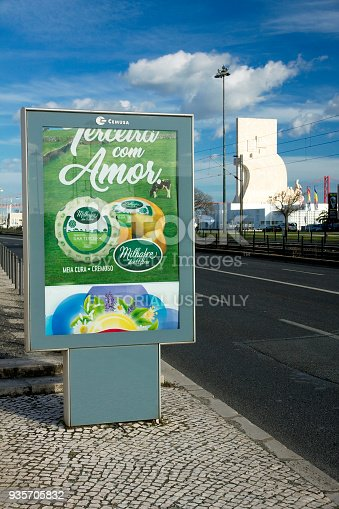 istock Vertical billboard on the background of Lisbon street 935705832