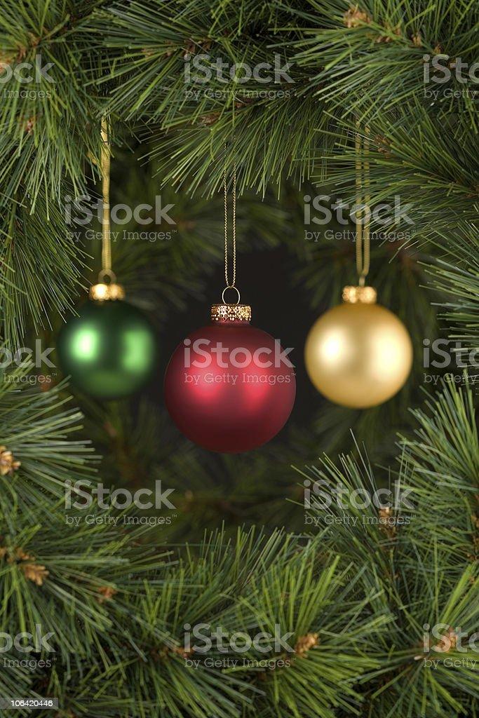 Vertical Black Christmas Decorations Scene stock photo