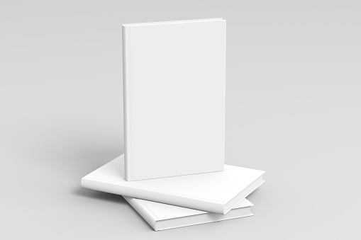 Vertical blank book cover mockup standing on stack of blank books with clipping path around books on white background. 3d illustration