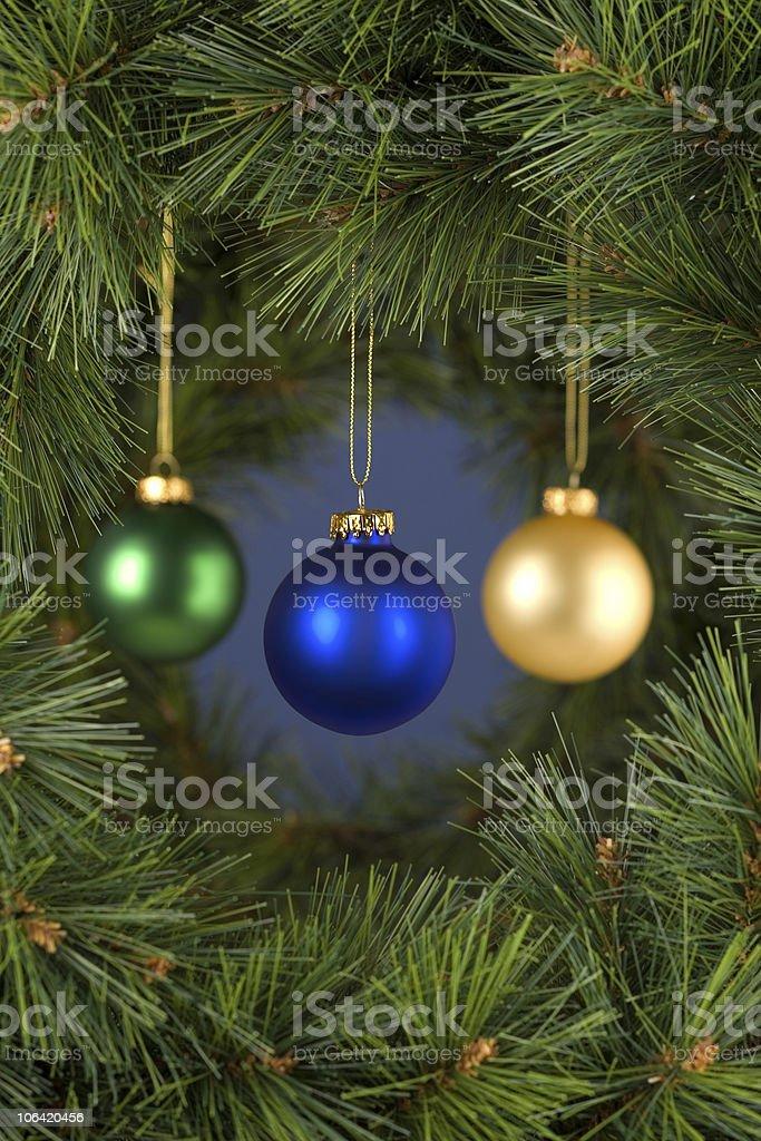 Vertical Blue Christmas Decorations Scene stock photo