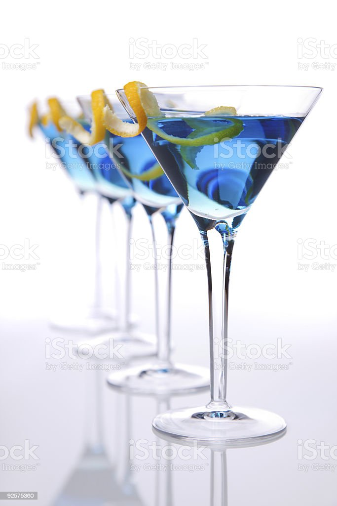 Vertical blue cocktails stock photo
