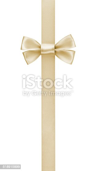 vertical border with champagne color ribbon bow, isolated on white