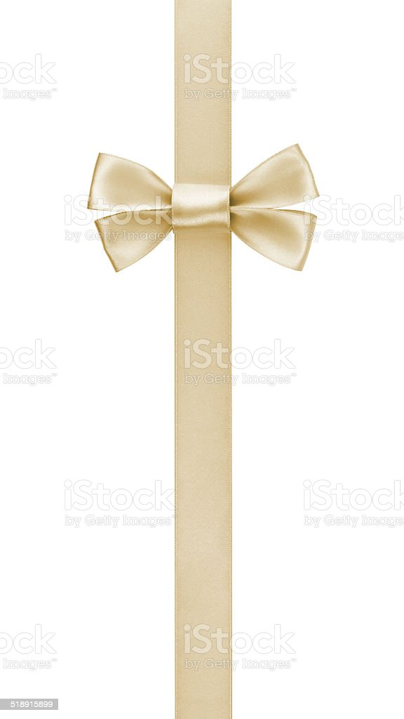 vertical border with champagne color ribbon bow stock photo