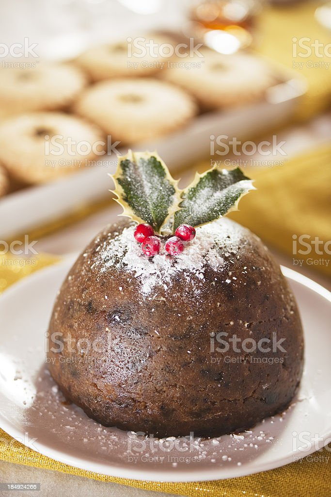 Vertical christmas pudding royalty-free stock photo