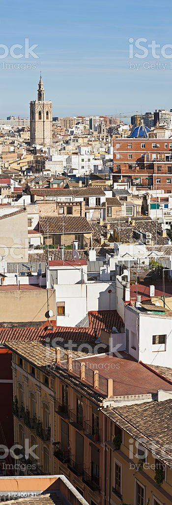 Vertical cityscape banner rooftops balconies spire panorama Valencia Spain stock photo