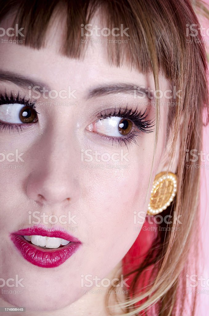Vertical closeup of model looking to side royalty-free stock photo