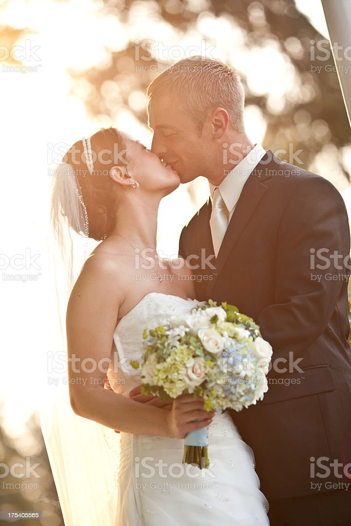 Vertical Color Newlyweds On Country House Porch Wooded Background Sunny stock photo