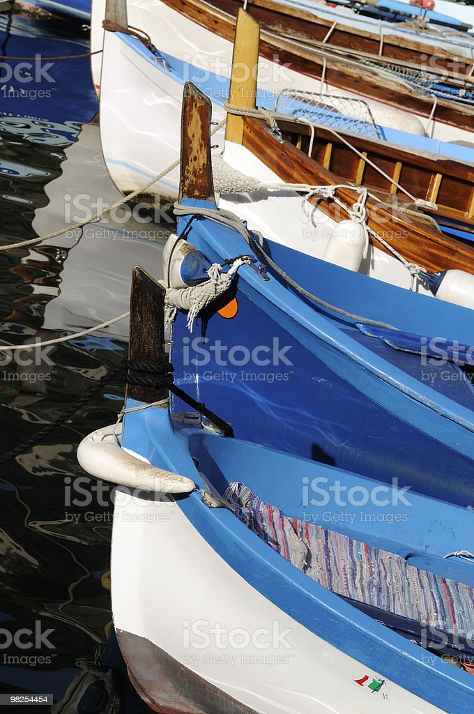 Vertical Color Photograph of Fishing Boats Tied in Cinque Terre royalty-free stock photo
