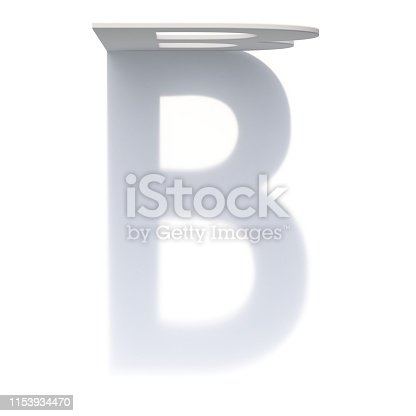 845304606 istock photo Vertical drop shadow font Letter B 3D 1153934470