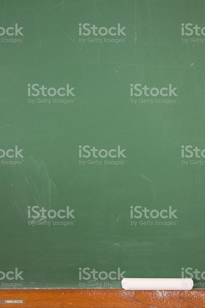 Vertical Empty Chalkboard with Chalk and Copy Space royalty-free stock photo
