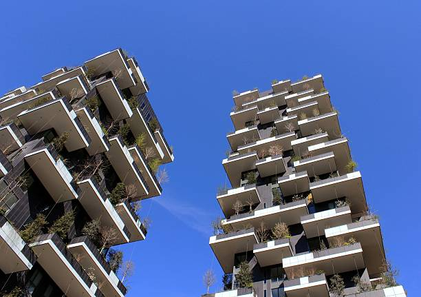 Vertical Forest towers Milan stock photo