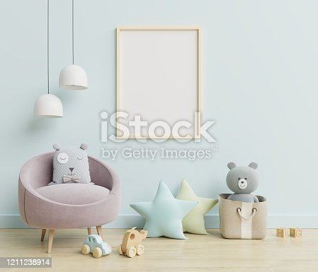 1208254898 istock photo Vertical frame mockup,Interior mockup, kids room, wall frame mockup,nursery mockup. 1211238914