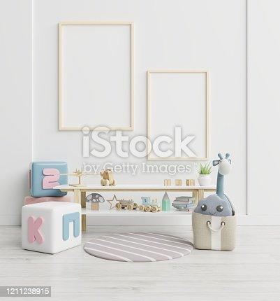 1208254898 istock photo Vertical frame mockup,Interior mockup, kids room, wall frame mockup,nursery mockup. 1211238915