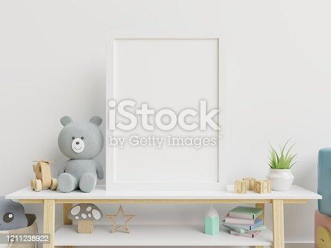 1208254898 istock photo Vertical frame mockup,Interior mockup, kids room, wall frame mockup,nursery mockup. 1211238922