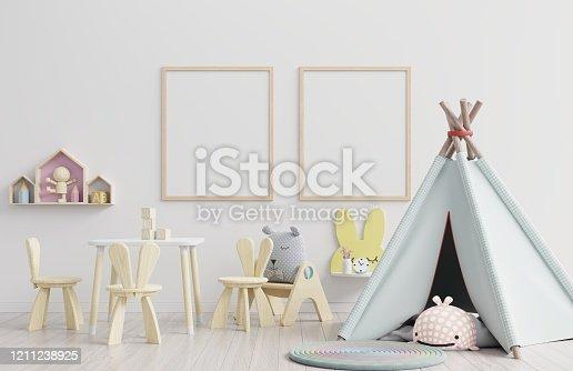 1208254898 istock photo Vertical frame mockup,Interior mockup, kids room, wall frame mockup,nursery mockup. 1211238925