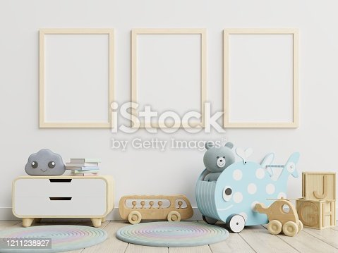 1208254898 istock photo Vertical frame mockup,Interior mockup, kids room, wall frame mockup,nursery mockup. 1211238927