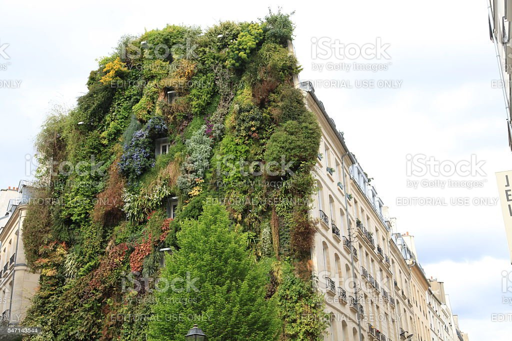 Vertical garden on façade of residential building in central Paris – Foto