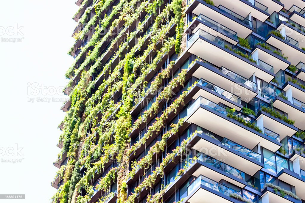 Vertical garden on high rise residental building, copy space stock photo