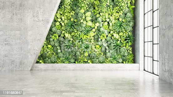 Vertical Garden with Empty Wall. 3d Render