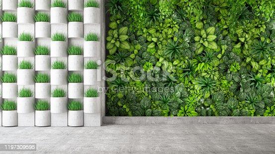 Vertical Garden with green plants. 3d Render