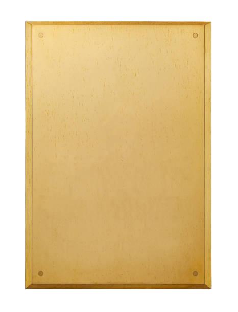 verticale verguld metalen plaat met klinknagels, geïsoleerd op een witte achtergrond - messing stockfoto's en -beelden