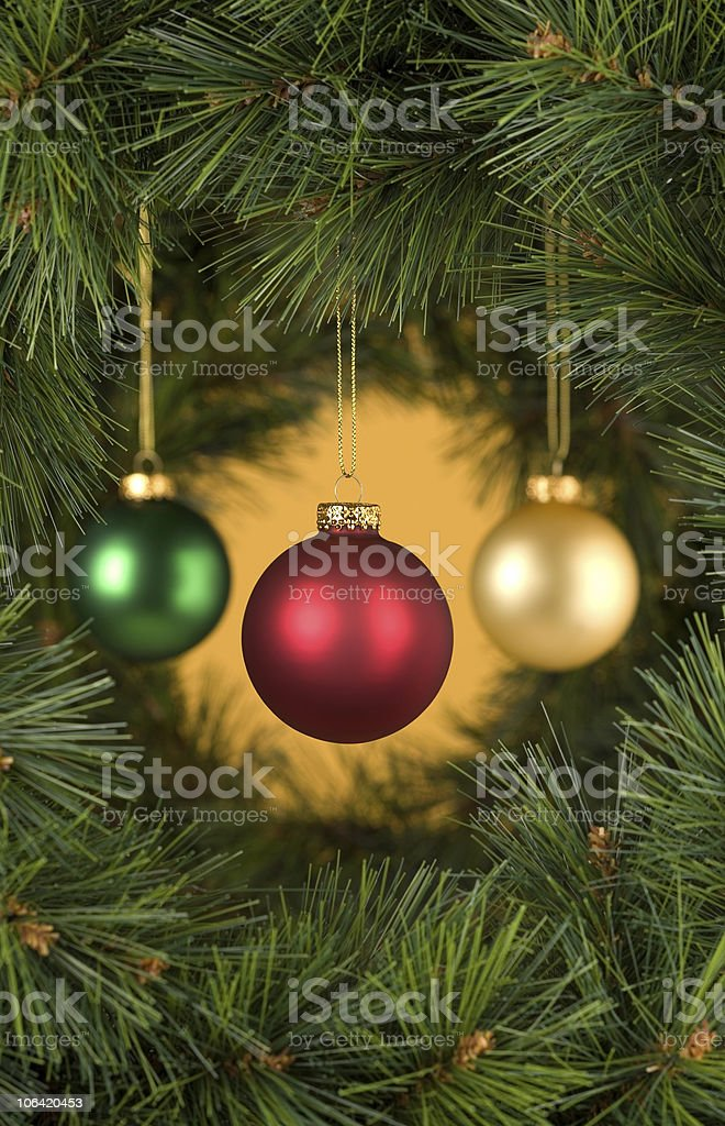 Vertical Gold Christmas Decorations Scene stock photo