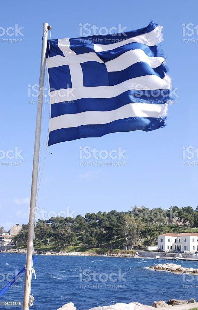 vertical greek flag royalty-free stock photo