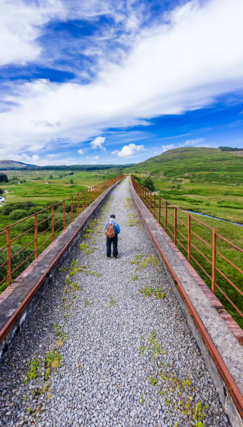 Vertical high angle view of an active senior man on a disused railway viaduct in the Scottish countryside A vertical panorama image captured by a drone of a retired man standing where the railway tracks used to be on a railway viaduct. The location is in Dumfries and Galloway in south west Scotland. johnfscott stock pictures, royalty-free photos & images