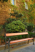 Vertical image of an empty wooden bench with blurry plants covered vintage building in the backdrop
