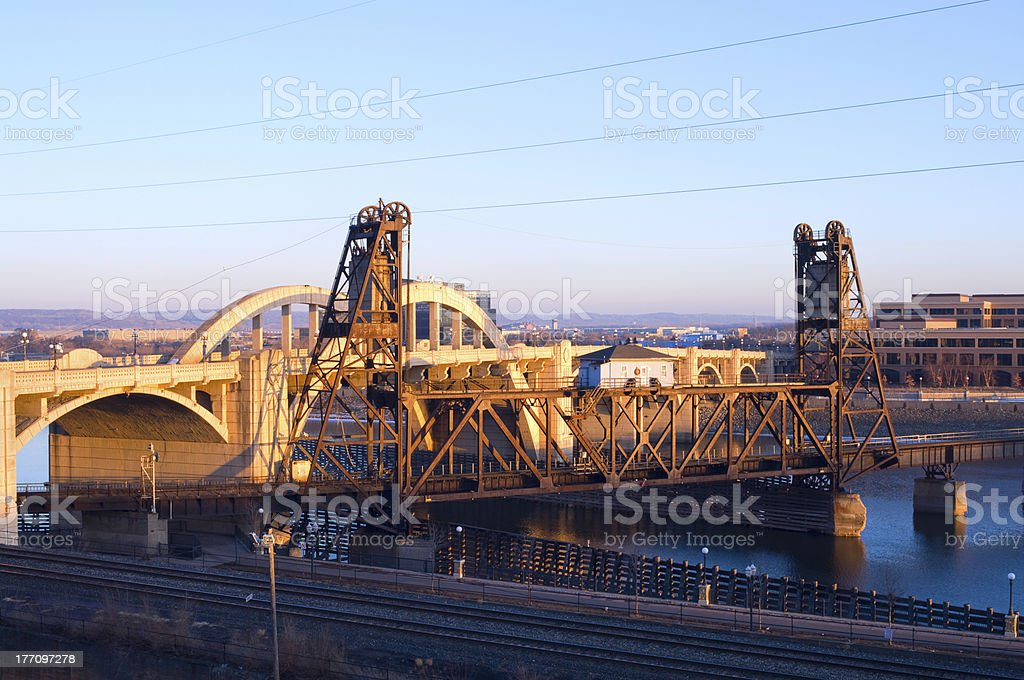 Vertical Lift Bridge and Robert Street in Saint Paul royalty-free stock photo