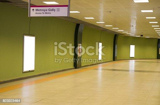 istock Vertical light box poster mockup in metro station 823323464