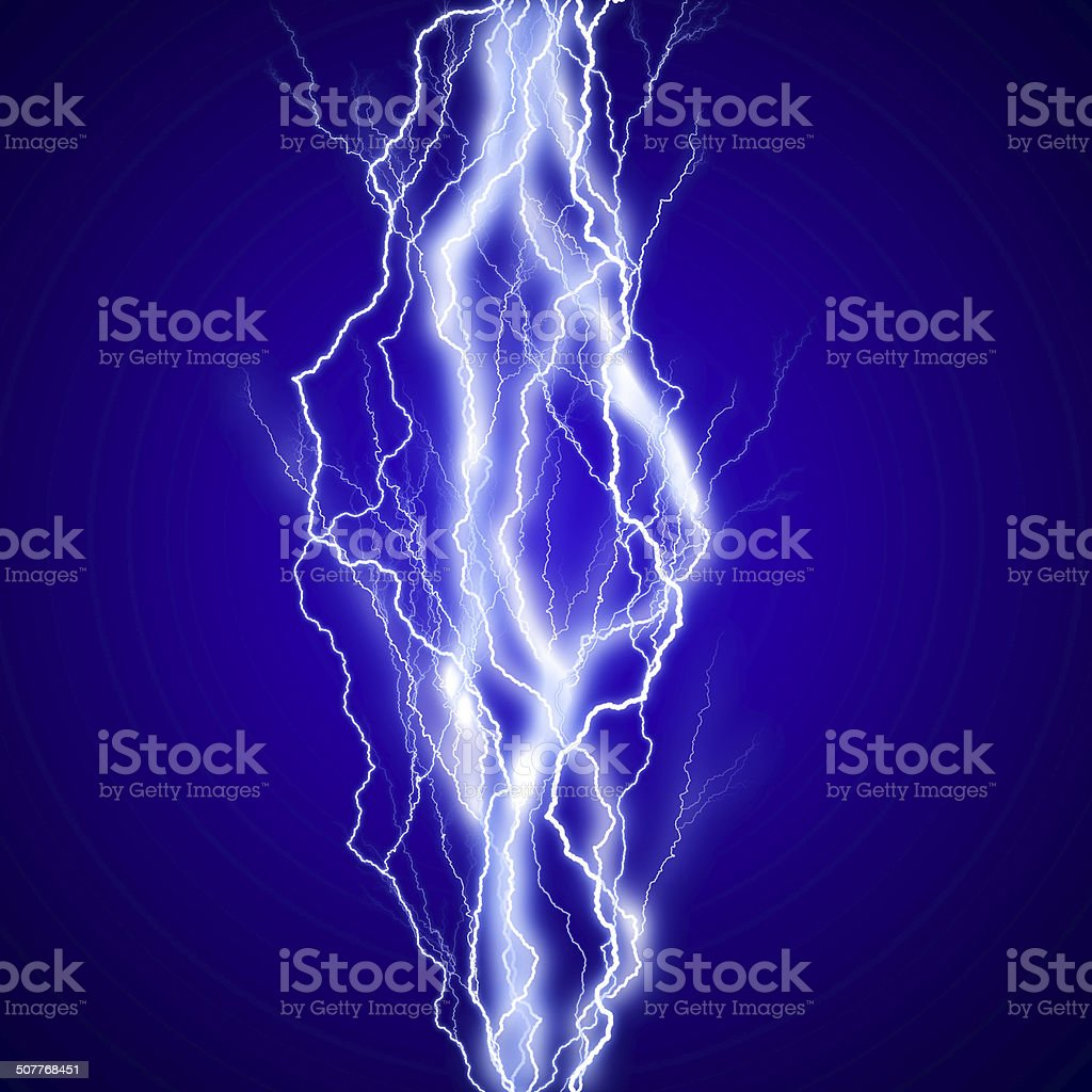 Vertical lightenings effect background in blue sky stock photo