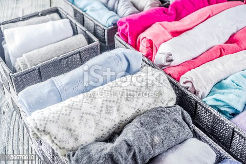 1164401360 istock photo Vertical Marie Kondo tidying clothes method 1156676610