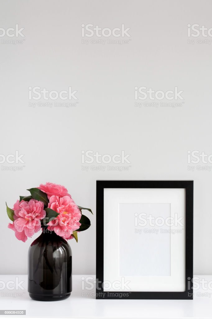 Vertical Mock Up Black Frame And Pink Flowers Stock Photo & More ...