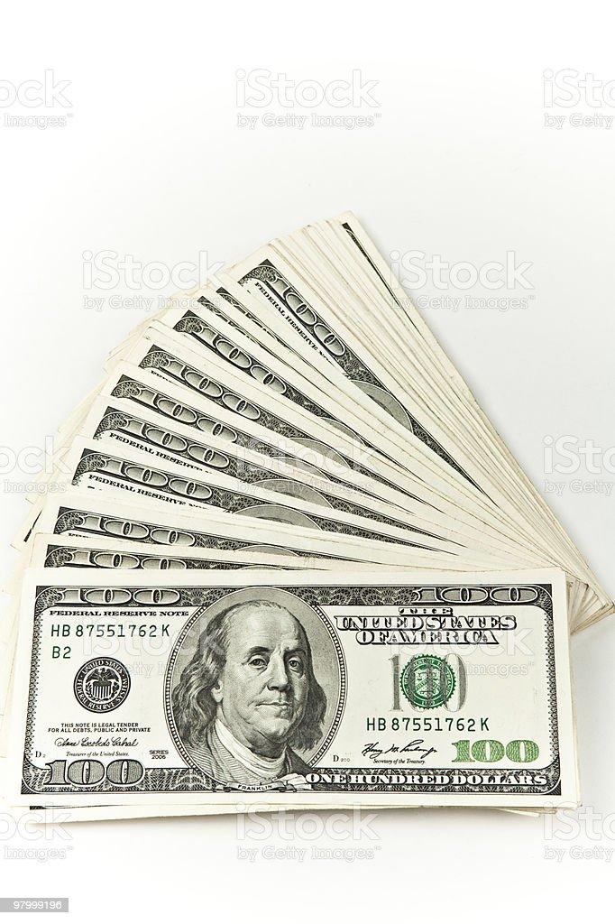 Foto vertical de dinheiro foto royalty-free