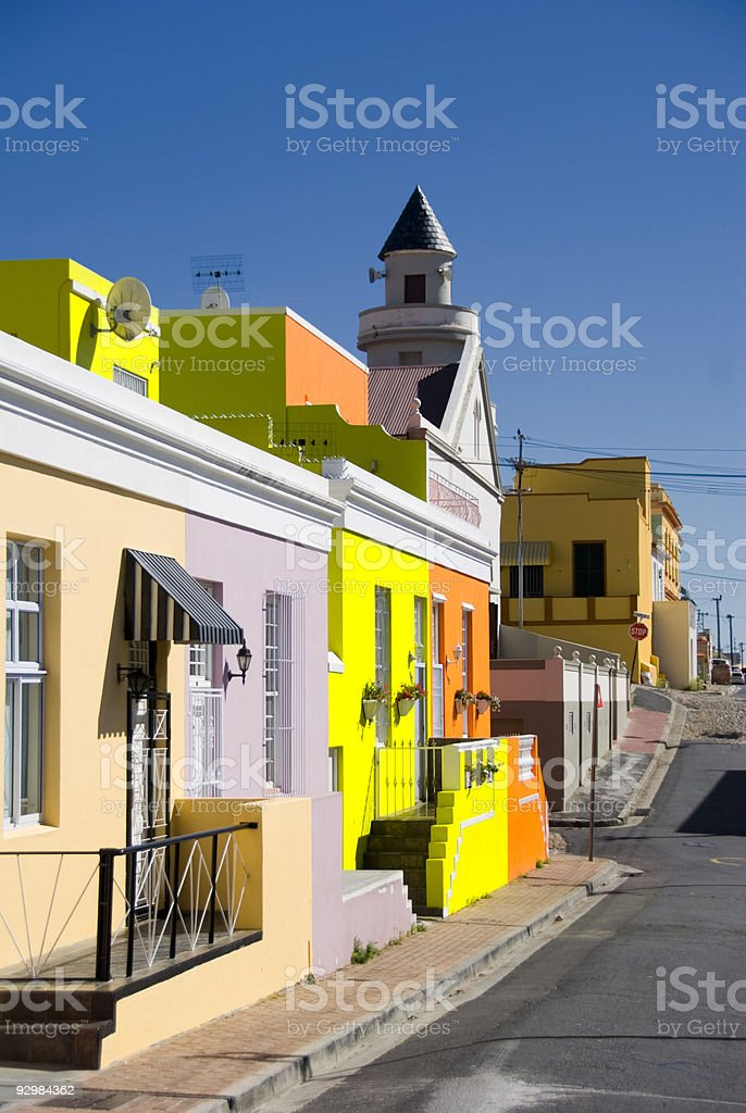 vertical of malay street scene cape town stock photo
