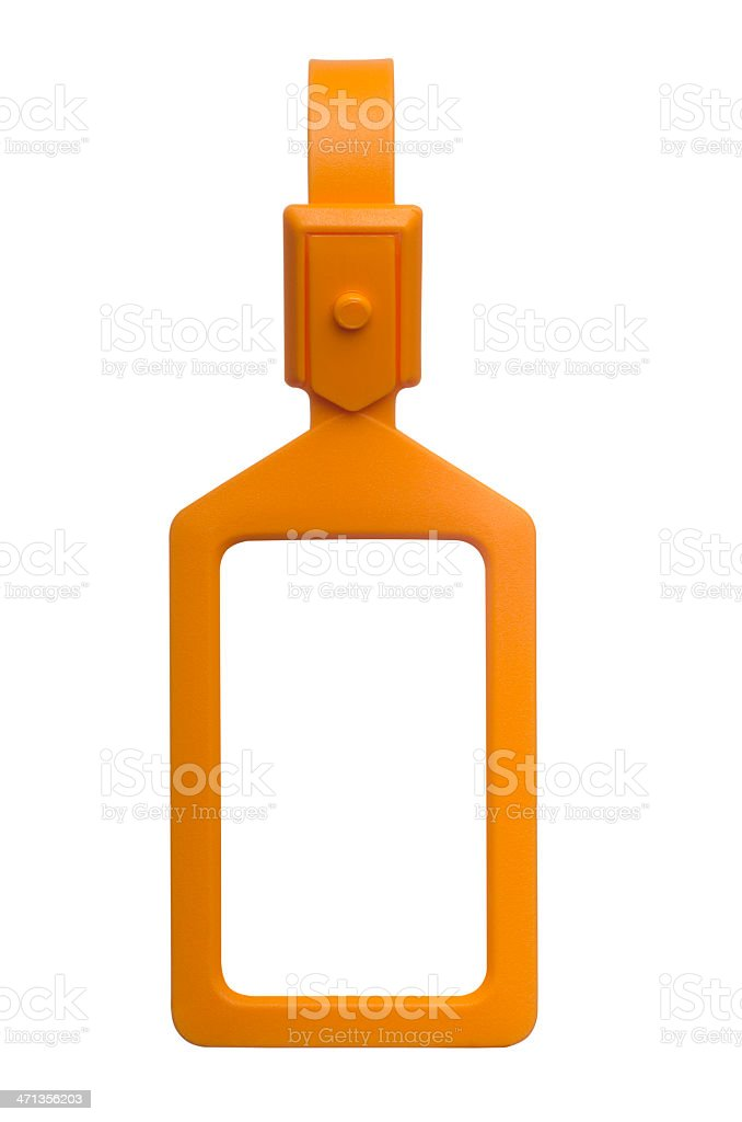 Vertical orange luggage tag with clipping paths stock photo