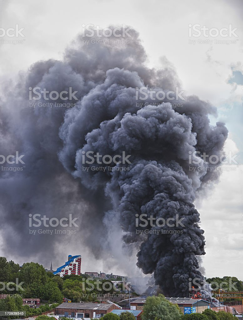 Vertical Panorama of Scrapyard Fire stock photo