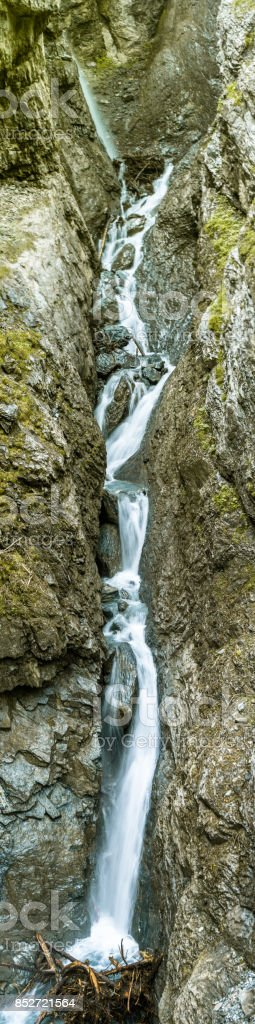 vertical panorama of waterfall stock photo