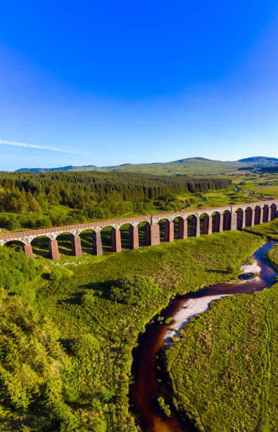 Vertical panoramic aerial view of a river flowing towards a disused railway viaduct in rural Dumfries and Galloway, south west Scotland The railway viaduct used to carry trains travelling towards the ferry port of Stranraer until it was closed in 1965 during the Beeching cuts. Parts of the old railway lines are used by walkers and cyclists. Just beyond the viaduct was the station for the small village of Gatehouse of Fleet. The crossed a section of river known as the Big Water of Fleet. The image was created by merging three images captured by a drone. johnfscott stock pictures, royalty-free photos & images