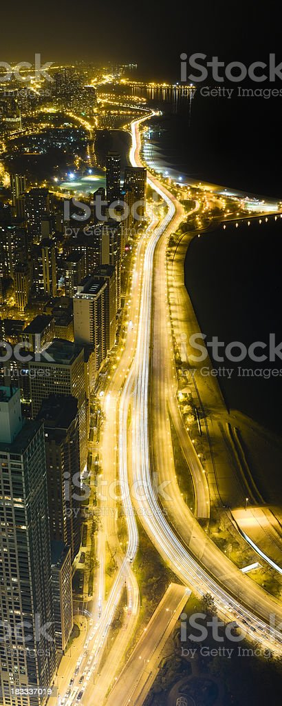 Vertical Panoramic View of the Chicago Lakefront at Night (XXXL) royalty-free stock photo