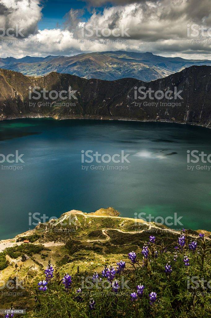 Vertical photo of Laguna Qilotoa in Ecuador stock photo