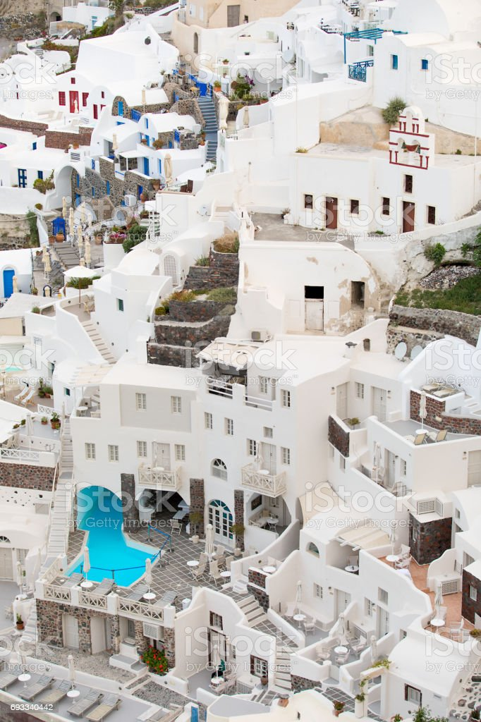 Vertical photo of Santorini buildings stock photo