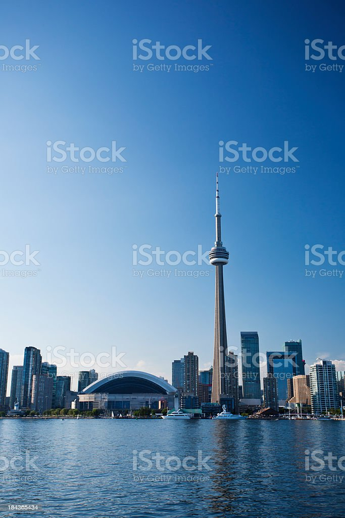 Vertical photo of the Toronto skyline under a clear blue sky stock photo