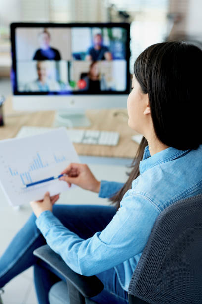 Vertical photography of woman having video conference stock photo