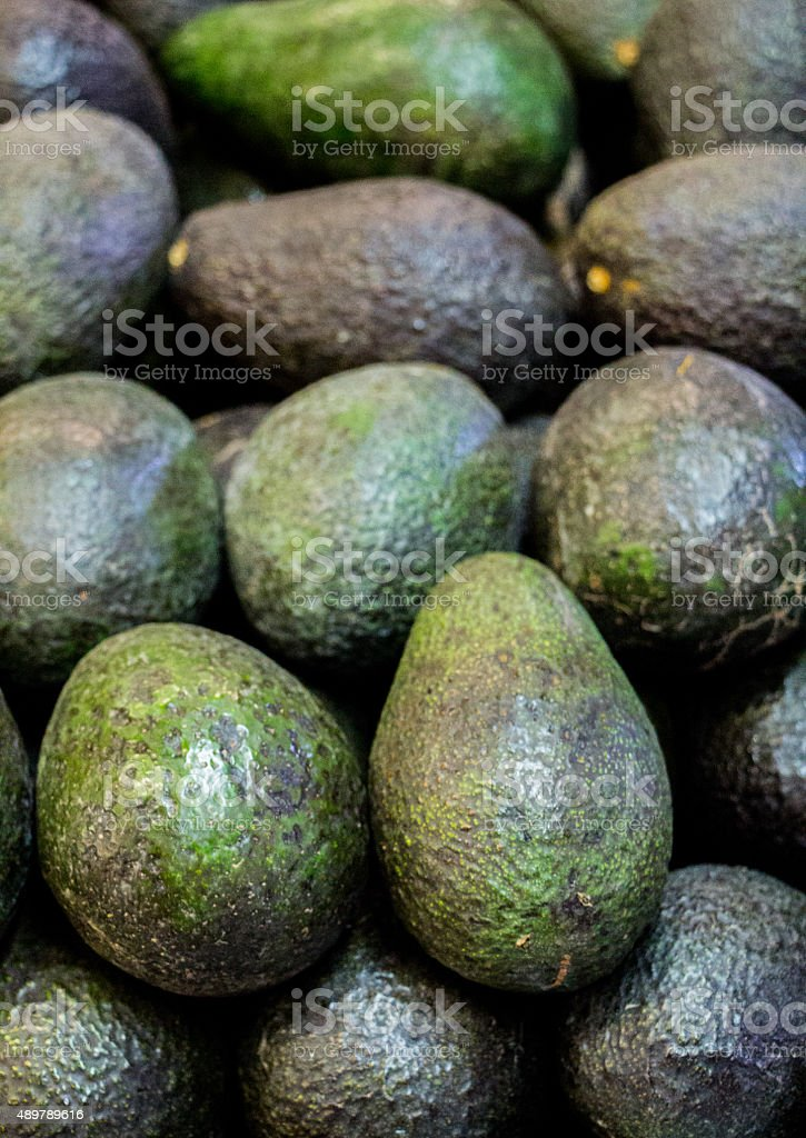 Vertical Picture Of Green Haas Avacados stock photo