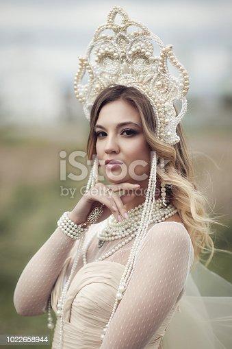 vertical portrait of a beautiful Russian girl in kokoshnik