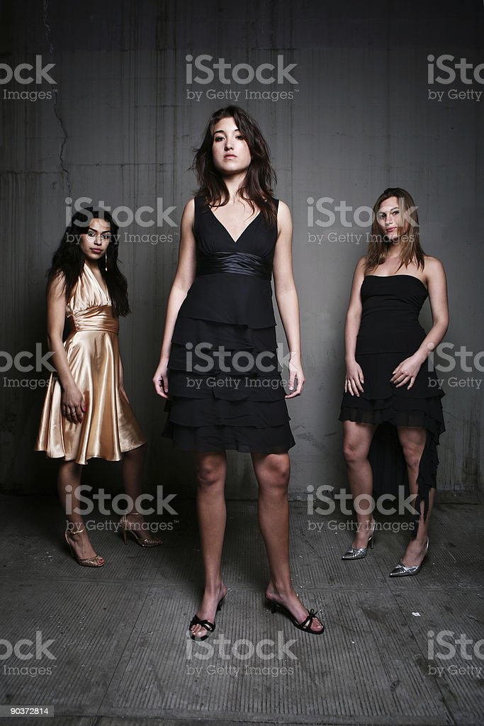 Vertical Portrait of Dressed Females royalty-free stock photo