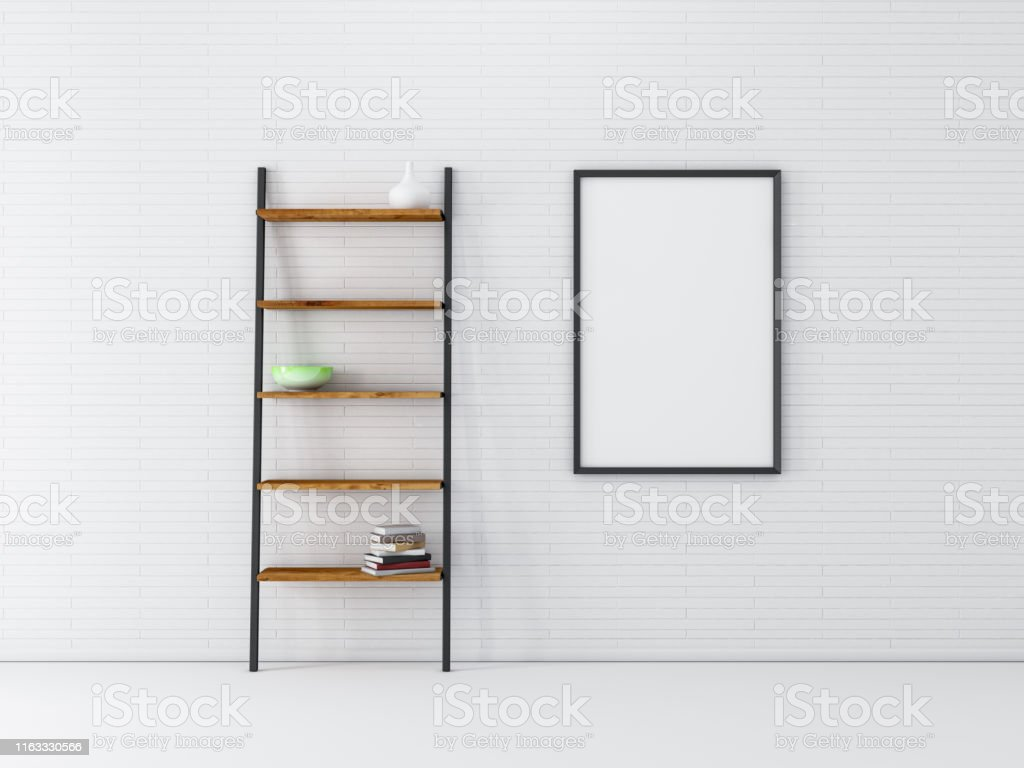 Vertical poster Frame Mockup hanging on white brick wall with wooden...