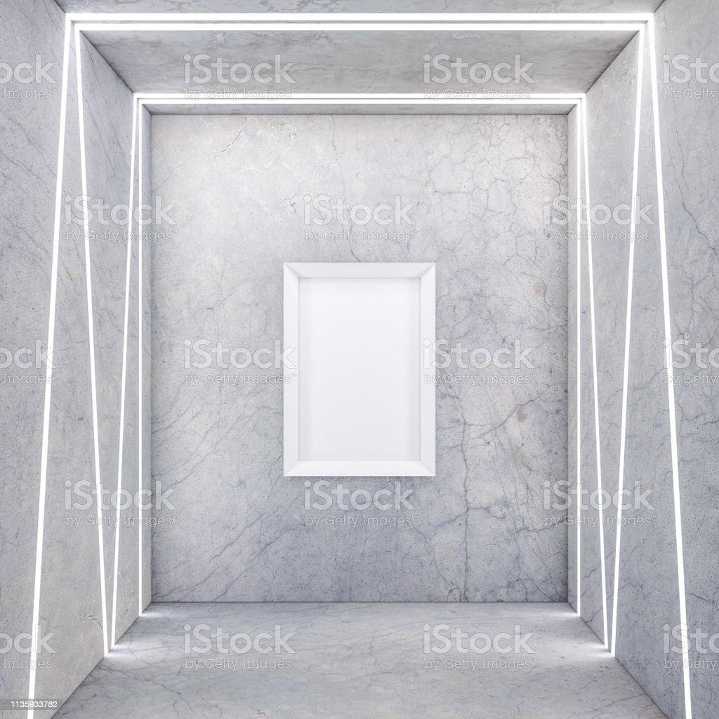 Vertical Poster with White Frame Mockup on concrete wall with light...